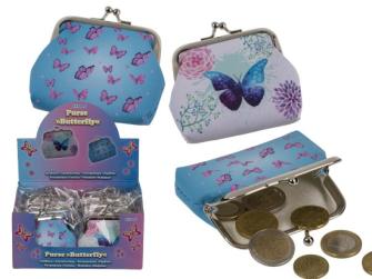 Geldbörse Schmetterling 9x8cm Kunststoff 12 Stck im Display