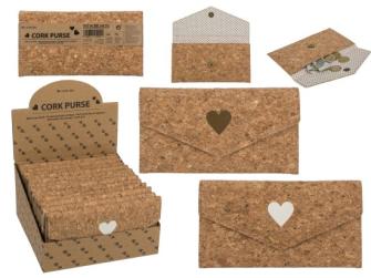 Geldbörse aus Kork mit Herzmotiv 19x10cm 2ass 12 Stck im Display