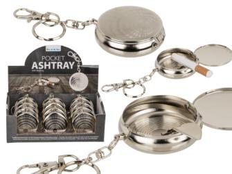 Taschenaschenbecher mit Schlüsselanhänger und Karabinerhaken 5cm Metall 12 Stck im Display