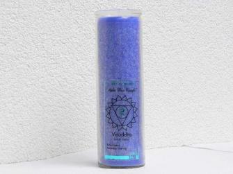 CHAKRAKERZE Blau- Visuddha, im Glas, 100% Pflanzlich, Kerze 20cm