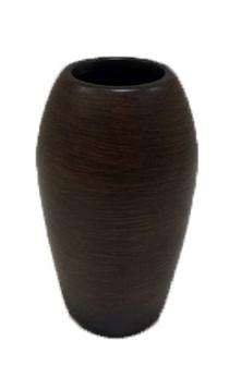 Vase bauchig Holzoptik braun Keramik