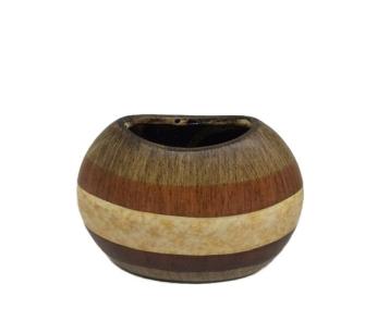 Vase oval gestreift in Erdtönen Keramik 21.5x11.5x16cm