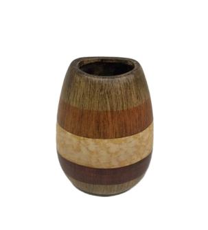 Vase klassisch gestreift in Erdtönen Keramik 23x16x12cm