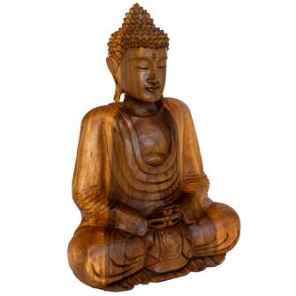 Buddha sitzend dunkel 34x20x40cm Holz Regenbaum (Samanea Saman) BALI