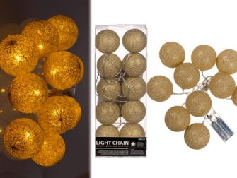 Lichterkette mit goldfarbene glitzernden Baumwollkugeln LED 6cm Länge 1.5m