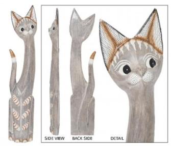 Katze 80cm grau Holz BALI