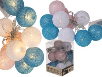 Lichterkette mit rosa und blauen Baumwollkugeln LED 4cm Länge 1.60m