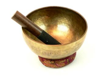 Klangschale d 22-24cm, halbdunkel, Schlegel, Kissen, 7-Metall-Legierung, Handgefertigt aus NEPAL