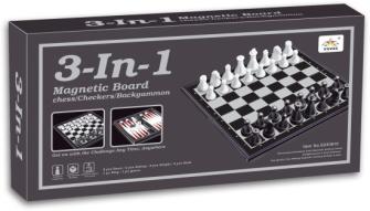 Spielset 3 in1 Schach Dame Backgammon 15x8x3cm