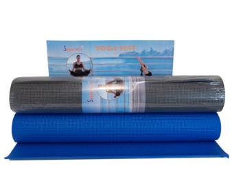 Yogamatte 173x61cm Dicke 5mm blau antrazit 2ass
