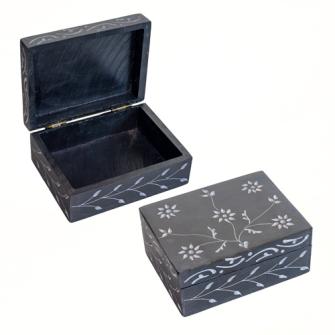 Dose 10x7.5cm Speckstein schwarz Blumenmuster