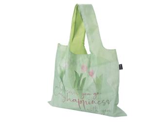 """Einkaufstasche """"Wherever you go"""" hellgrün mit Tulpen faltbar Nylon 42x50cm"""