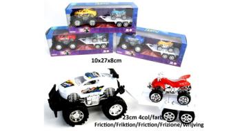 Auto mit Anhänger und Motorad 23cm 4ass