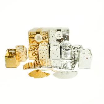 Geschenkboxen 6erSet 5x5x7cm klappbar Gold/Silber