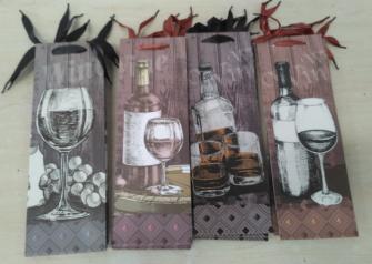 Geschenktasche Flaschenform Wein 4ass 12x36cm