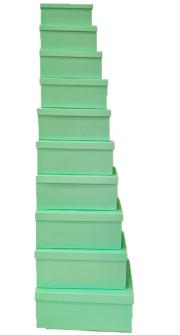 Geschenkboxen grün 10er Set 19x13x7.5cm bis 37.5x29x16cm