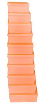 Geschenkboxen Lachsfarben 10er Set 19x13x7.5cm bis 37.5x29x16cm