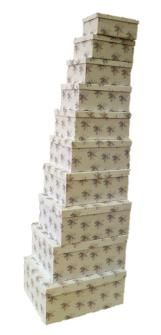Geschenkboxen Blumen 10er Set 19x13x7.5cm bis 37.5x29x16cm