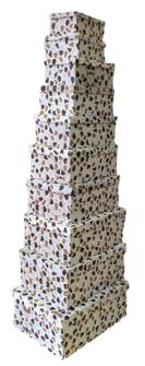 Geschenkboxen Terrazzo 10er Set 19x13x7.5cm bis 37.5x29x16cm