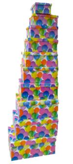Geschenkboxen Luftballons 10er Set 19x13x7.5cm bis 37.5x29x16cm