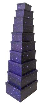 Geschenkboxen Sternenhimmel 10er Set 19x13x7.5cm bis 37.5x29x16cm