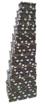 Geschenkboxen Blätter 10er Set 19x13x7.5cm bis 37.5x29x16cm