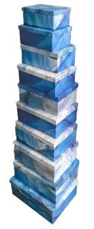Geschenkboxen Blau 10er Set 19x13x7.5cm bis 37.5x29x16cm