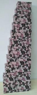 Geschenkboxen Rosen 10er Set 19x13x7.5cm bis 37.5x29x16cm