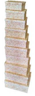 Geschenkboxen Rattan 10er Set 19x13x7.5cm bis 37.5x29x16cm