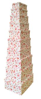 Geschenkboxen Erdbeeren 10er Set 19x13x7.5cm bis 37.5x29x16cm