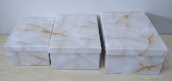 Geschenkdosen 3e Set marmoriert 19x13x7.5cm bis 23x16.5x9.5cm