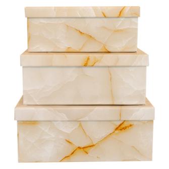 Geschenkboxen 3er Set marmoriert 19x13x7.5cm bis 23x16.5x9.5cm