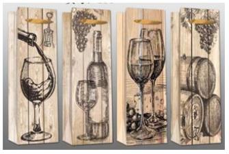 Geschenktasche Flaschenform Wein 4ass 12.8x36cm