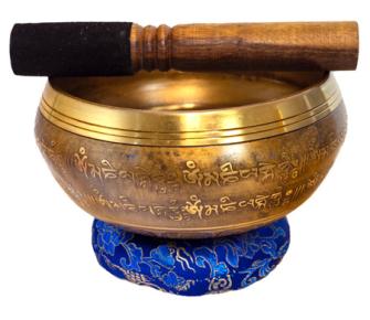 Klangschale Diam 15cm mit Blume des Lebensmotiv NEPAL