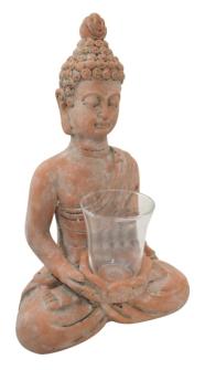 Buddha mit Windlicht 24.5x17x38.5cm Steingut, Backstein