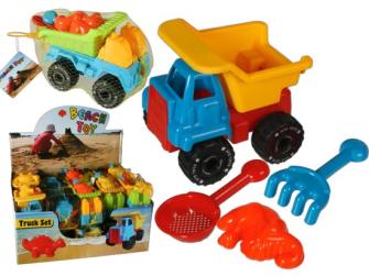 Sandspielzeug Kipper, Förmchen, Schaufel und Harke 15cm Kunststoff im Netz zum Aufhängen