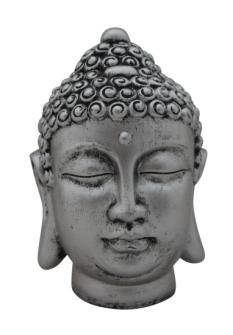 Buddha Kopf antiksilber 17x12cm Polyresin