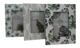 Bilderrahmen mit Blätterdekor weiss, grün 23x18x0.8cm 3ass MDF