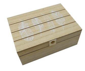 Box mit Deckel Federapplikationen natur weiss 17x12x6.5 Holz