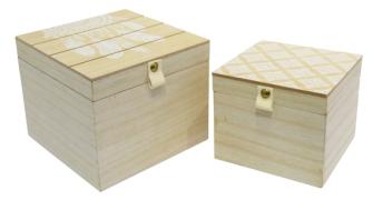 Box mit Deckel 2er Set Applikationen natur weiss Holz
