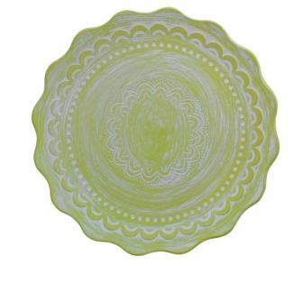Teller mit Halbkreisen grün 44.5x44.5x8cm Holz