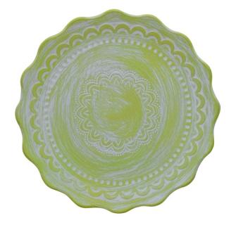 Teller mit Halbkreisen grün 34.5x34.5x3.8cm Holz
