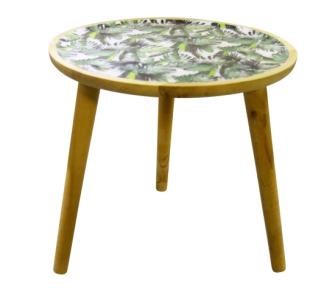 Tisch rund mit Blättermuster grün braun 40x40x38cm MDF