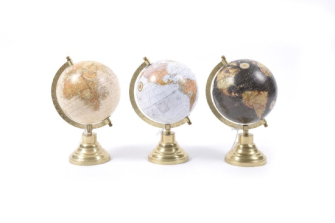 Globus 18x15.5x28.5cm ass Holz und Messing