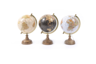 Globus 18x15.5x27.5cm ass Holz und Messing