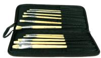 Pinsel in Stoffetui schwarz 16erSet, Grössen ass. 35x27cm