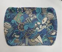 Tablett 36.5x24s1.7cm aus Bambusfasern Blaues Motiv