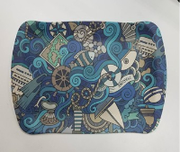 Tablett, 30x19.5x1.5cm aus Bambusfasern blau gemustert